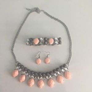 Pink / Blush and Silver Statement Necklace Set